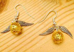 Harry Potter Golden Snitch Handmade Earrings by LumosAccessories