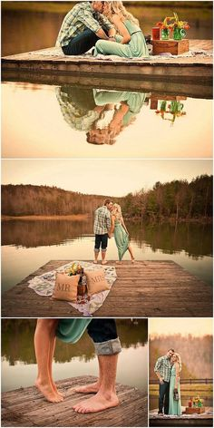 picnic on the water engagement photo