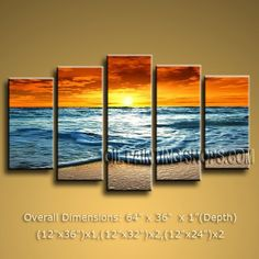 "Primitive HUGE Multiple Panels Artist Artworks Painting Contemporary Sunset 64"" x 36"" #1187 