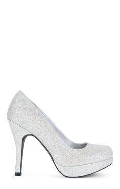 SugarPair Silver Glitter Low Platform High Heel $25.20