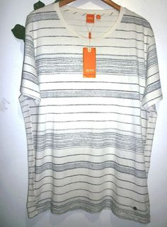 Boss Orange Hugo Boss Off White Black Stripes Cotton Men T- Shirt Size 3XL #
