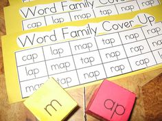 Word Family Cover Up -- They roll the onset and the chunk dice....find that word and cover it once. They keep rolling and covering. The winner is the person who covers their entire board first.