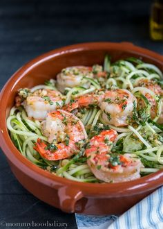 Raw Spiralized Zucchini Noodles with Garlic Shrimp or Cucumber Noodles with Garlic Shrimps