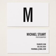 #white - #Professional Monogram Bold Text Black and White Business Card