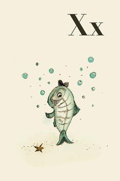 X for X Ray Fish  Alphabet animal  Print 6x8 inches by holli