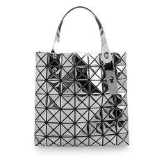 Bao Bao Issey Miyake Mini Prism tote (¥102,405) ❤ liked on Polyvore featuring bags, handbags, tote bags, silver, mesh purse, mesh handbag, pocket tote bag, tote purse and tote bag purse