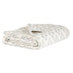 Ib Laursen White and Dark Blue Quilted Throw with Pattern