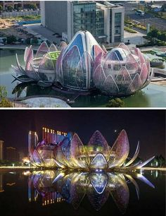 The Lotus Building , China / This colourful building sits at the heart of a lake, and each night it 'opens' anew and lit with a beautiful array of colours.