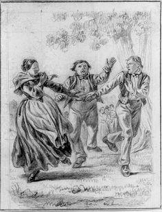 """""""Danslek"""" av Carl Andreas Dahlström (1806-69). Nationalmuseum, nr. NMH 234/1906"""