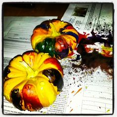 Pumpkin drip art with crayons melted to a #pinterestfail