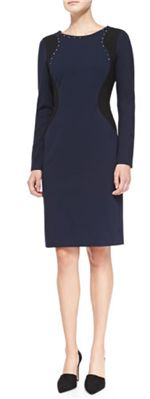 NYDJ - Portia Long-Sleeve Contour Sheath Dress: Silver metallic studs outline the neck and shoulders, which is a great way to add a touch of shimmer to a dress that offers a full sleeve and crewneck style.