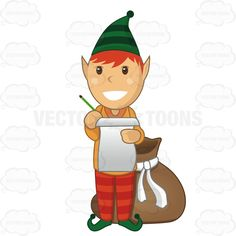 Christmas Elf With A Paper And Pencil In Hand And A Bag On The Floor Behind Him #checking-it-twice #christmas #elf #gift #gifts #holiday #holidays #list #making-a-list #presents #santa #Santa-Claus #winter