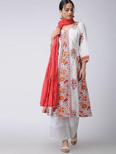 White-Orange Block-Printed Cotton Kurta
