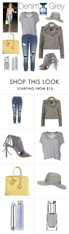 """""""Denim & Grey Hot Look"""" by boutiquebrowser ❤ liked on Polyvore featuring River Island, BOSS Hugo Boss, Acne Studios, Hermès, Topshop and Christian Dior"""