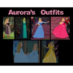 """Aurora's Outfits"" by tealtigress on Polyvore hmm i wonder if the last two outfits were cutout of the movie"