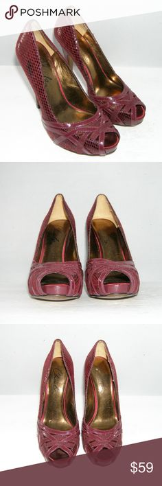 """Charles by Charles David strappy peep platforms 6M These Charles by Charles David features a patent suede, snake pattern upper, peep toe design, satin inner sole, 2 7/8"""" width, and a 4.75"""" heel with 0.5"""" platform. Slightly worn upper, inner, insole, heel(scuffs), and sole. $215 MSRP Charles David Shoes Platforms"""