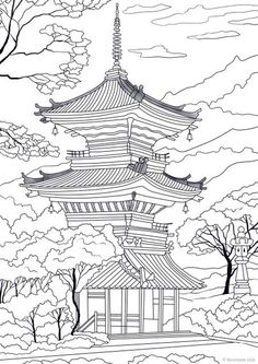 beautiful architecture Japanese Temple - Printable Adult Coloring Page from Favoreads (Coloring book pages for adults and kids, Coloring sheets, Coloring designs) Printable Adult Coloring Pages, Coloring Book Pages, Temple Drawing, Coloring Sheets For Kids, Kids Coloring, Coloring Pages For Grown Ups, Nature Drawing, Japanese Embroidery, Japanese Art