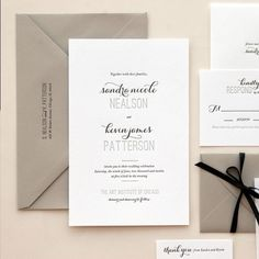 Black and white letterpress wedding invitation suite from Kimberly FitzSimons. Classy Wedding Invitations, Wedding Invitation Inspiration, Wedding Invitation Design, Letterpress Wedding Invitations, Wedding Stationary, Invitation Fonts, Wedding Paper, Wedding Cards, Wedding Wishes