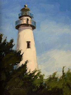 "Daily Paintworks - ""Lighthouse"" - Original Fine Art for Sale - © Laurel Daniel"