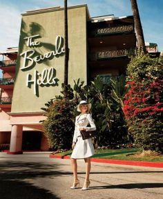 Kate Upton | Photographs by Terry Richardson for Harper's Bazaar | The iconic signage and the addition of The Beverly Hills Hotel were designed by modernist architect, Paul R. Williams
