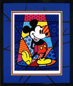 Framed -- Spotlight Mickey - Romero Britto - World-Wide-Art.com