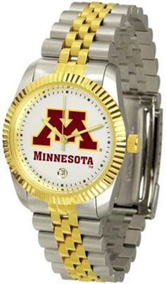 Minnesota Golden Gophers Men's Two Tone Gold Dress Watch by SunTime. $133.95. Men. Stainless Steel. Links Make Watch Adjustable. Officially Licensed Minnesota Golden Gophers Men's Two Tone Gold Dress Watch. 23kt Gold-Plated Bezel. Minnesota Gophers men's two tone gold dress watch. College s executive timepiece offers men a classic, business-appropriate look. Features a 23kt gold-plated bezel, stainless steel case and date function. Secures to your wrist with a two-tone s...