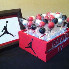 Cake pops and crate I painted for a Michael Jordan baby shower.