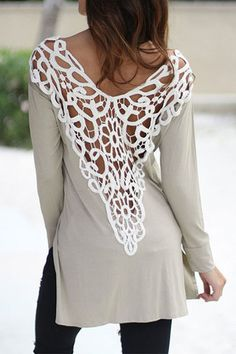 39ea3eb6d5b New Arrival Women Lace Hollow Out Patchwork O-neck Side Split Tops Female  Casual Backless Long Sleeve T-shirts Plus Size