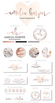 Rose Gold Heart Branding Kit Photography Logo Premade