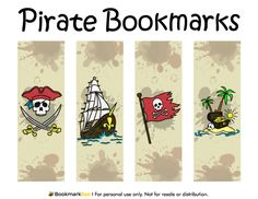 Free printable pirate bookmarks in PDF format. The template includes four different bookmark designs per page. Free Printable Bookmarks, Bookmark Template, Printable Maps, Bookmarks Kids, Free Printables, Pirate Theme, Pirate Party, Treasure Maps, Christmas Templates