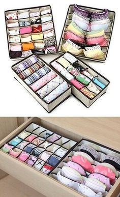 55 Genius Storage Inventions That Will Simplify Your Life -- A ton of awesome organization ideas for the home (car too! A lot of these are really clever storage solutions for small spaces. (small apartment tips storage solutions) Organisation Hacks, Storage Organization, Closet Storage, Underwear Organization, Underwear Storage, Small Bedroom Organization, Closet Drawers, Storage Drawers, Diy Storage