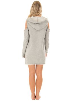 Heather Grey Cold Shoulder Tunic Hoodie with Kangaroo Pocket back full body