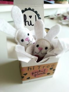Set of Two Tiny Bunny Rabbit Pocket Friends by hitree on Etsy, $12.00