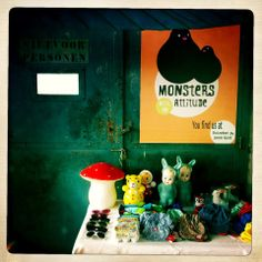 Monsters With An Attitude shop interior. This store is playful and trendy, with cuddly toys, clothes in bright colors and prints, socks and shoes, blankets and rugs, cool toys, gadgets and designer gear.