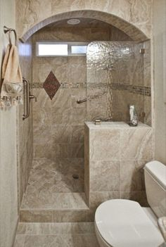 57 Small Bathroom Decor IdeasShower tiles Built ins and Focus on