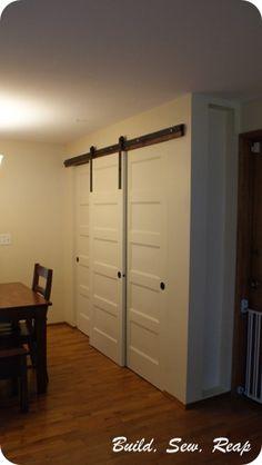 https://flic.kr/p/fBFAbn | Pantry with DIY Barn Door Hardware by Julie @ Buildsewreap.com