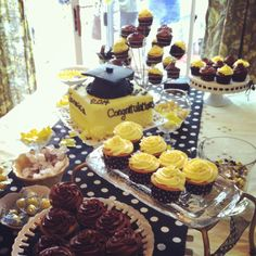 Grad Party - yellow and black theme. Sweet table