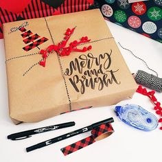 39 Ideas Drawing Christmas Gifts Products For 2019 Kraft Paper Christmas Wrapping, Brown Paper Wrapping, Christmas Crafts For Gifts, Christmas Diy, Christmas 2019, Christmas Things, Homemade Christmas, Christmas Projects, Holiday Fun