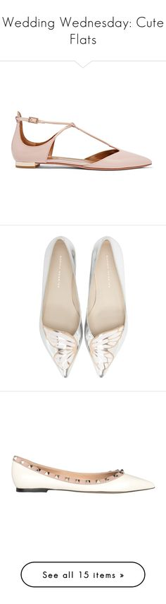 """""""Wedding Wednesday: Cute Flats"""" by polyvore-editorial ❤ liked on Polyvore featuring weddingwednesday, shoes, flats, pointy toe ankle strap flats, pointed toe flats, pointed-toe ankle-strap flats, ankle wrap flats, party shoes, silver rose gold and flat pointed-toe shoes"""