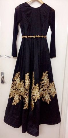 Floor length black silk gown, this party wear Indian dress has embroidery on the gown. The outfit is a custom made garment which includes the gown, which is in silk.it can be made in any colour of your choice. Upon order confirmation, we will send you the measurement form which you
