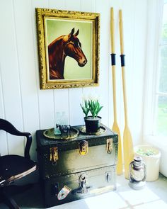 Create the look, by - #PortlandiaRevibe   Find us, Like us, Follow us at #Facebook #pinterest #Etsy  #retail #portrait #horse #equestrian #paddle #oars #boat #lake #trunk #industrial #vintage #earthenware #stone #tulips #garden #spring #metallic #blue #glass #float #lantern #railroad #brass #bar #barcart #tray #party