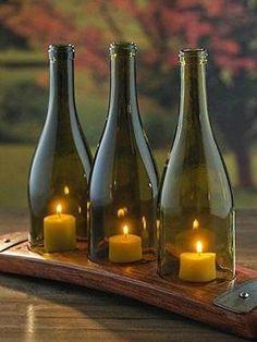 Easy & Unique DIY Pallet Projects Ideas for Home Decor ~ Home Design Ideas Empty Wine Bottles, Wine Bottle Art, Glass Bottle Crafts, Glass Bottles, Wine Bottle Candles, Wine Bottle Windchimes, Crafts With Wine Bottles, Alcohol Bottle Crafts, Cutting Wine Bottles