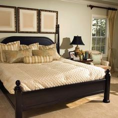 I definitely like the dark wood bed frame Dark Wood Bed Frame, Interior Tropical, Feng Shui Bedroom Tips, Bedroom Furniture, Bedroom Decor, Happy Room, Beautiful Bedrooms, Home Remodeling, Home Goods