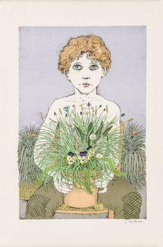 """BRUNO CARUSO (Palermo 1927) LITOGRAFIA a colori prova d'autore """"ragazzo con vaso di Panze""""."""