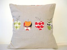 Apple cushion cover,  free motion applique linen, by tailorbirds on etsy
