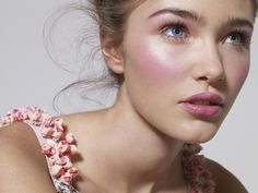 Another Lisa Eldridge creation for Glamour UK...pale (yet bold) pink high frost cheeks, sheer pink lip, natural eyes with understanded emphasis on the lashes