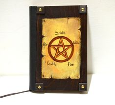 Gothic victorian, wiccan pagan, book of shadows, quote book, customized journal, pentagram pentacle, religious symbol, halloween journal by Hirotechnion on Etsy Religious Books, Religious Symbols, Wiccan, Pagan, Witchcraft, Painted Books, Hand Painted, Etsy Handmade, Handmade Items