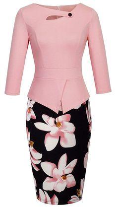 HOMEYEE Women's Elegant Chic Bodycon Formal Dress B288