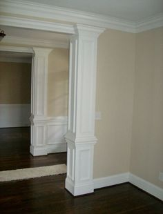 load bearing interior columns load bearing columns square wood columns interior home who we are remodeling handyman services custom woodworking interior non load bearing columns Interior Columns, Interior Trim, Wood Columns, House Columns, Columns Inside, Moldings And Trim, Crown Moldings, Moulding, Archway Molding