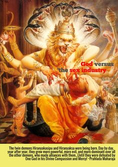 As mentioned in the Puranas, Narasimha Avatara was the fourth incarnation of Lord Vishnu. The incarnation was in the form of a man-lion. Krishna Art, Radhe Krishna, Shree Krishna, Lord Vishnu, Lord Shiva, Holi, Avatar, Srila Prabhupada, Lord Krishna Images